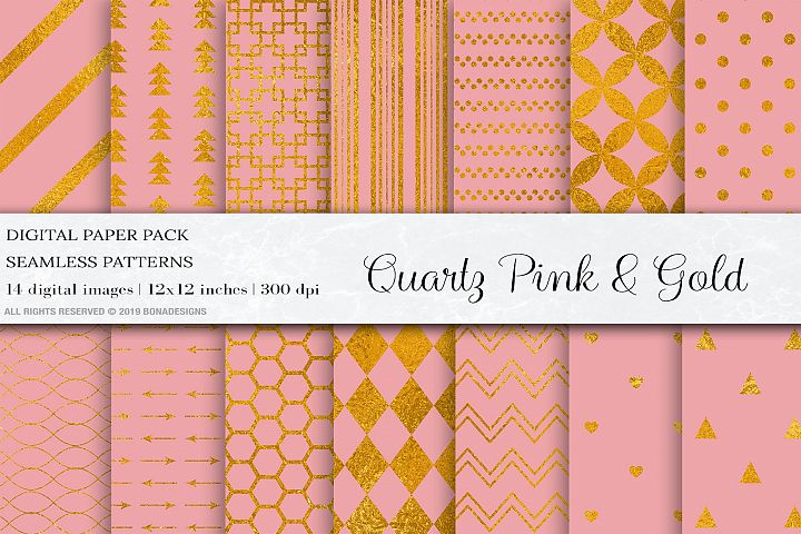 Pink Gold Digital Papers, Gold Seamless Patterns, Wedding