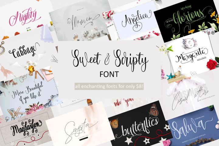 All Sweet & Scripty Fonts-For Only $8!