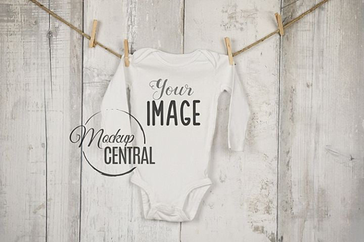 Baby Long Onepiece Bodysuit Mockup Shirt on Clothesline