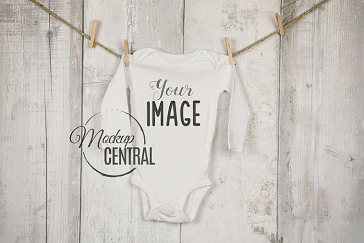 Baby Long Onepiece Bodysuit Mockup Shirt on Clothesline