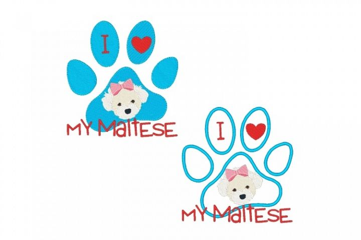 Maltese Paw Print Machine Embroidery Design Set of 2