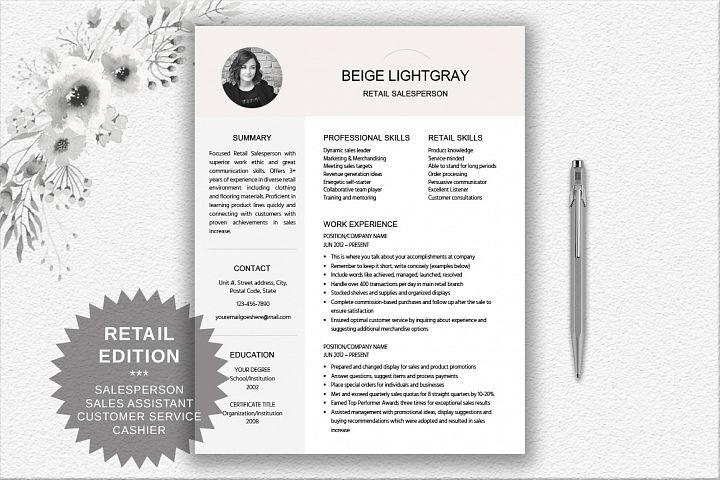 Resume Template Salesperson | Retail | Cashier | Customer Service