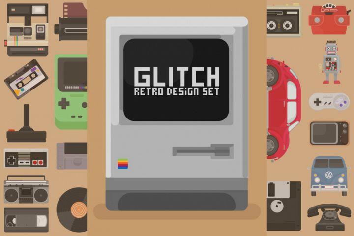 Glitch Retro Design set