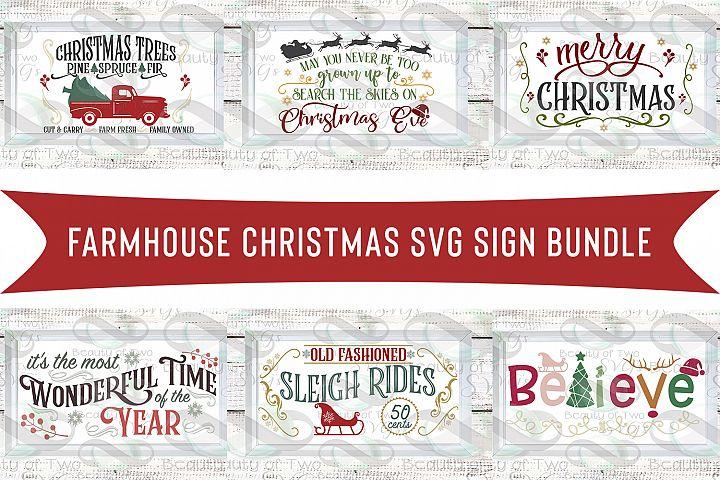Farmhouse Christmas svg Sign Design bundle, 6 svg designs