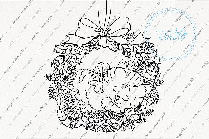 Digital stamp - Christmas Cute Kitten sleeping in wreath