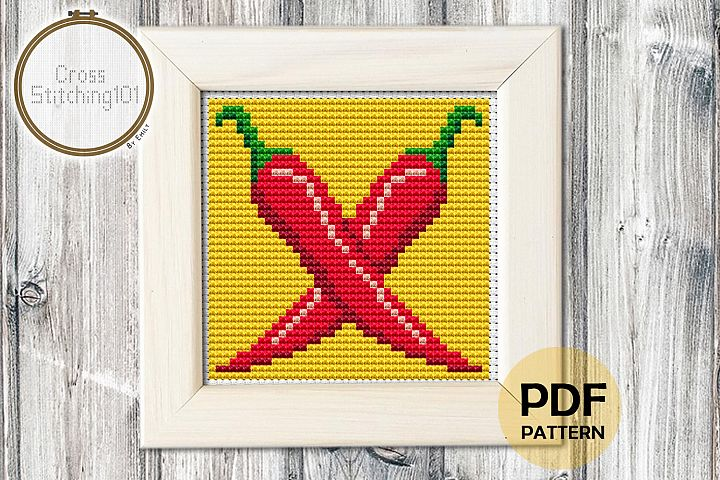 Red Chilly Cross Stitch Pattern - Instant Download PDF