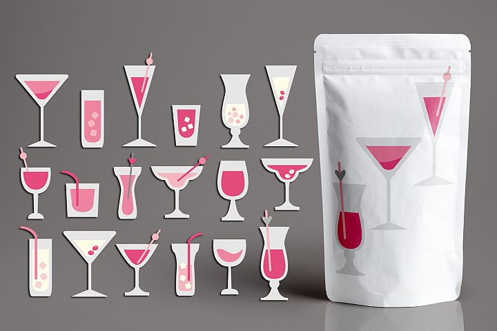 Valentine Cocktail Glasses Drinks