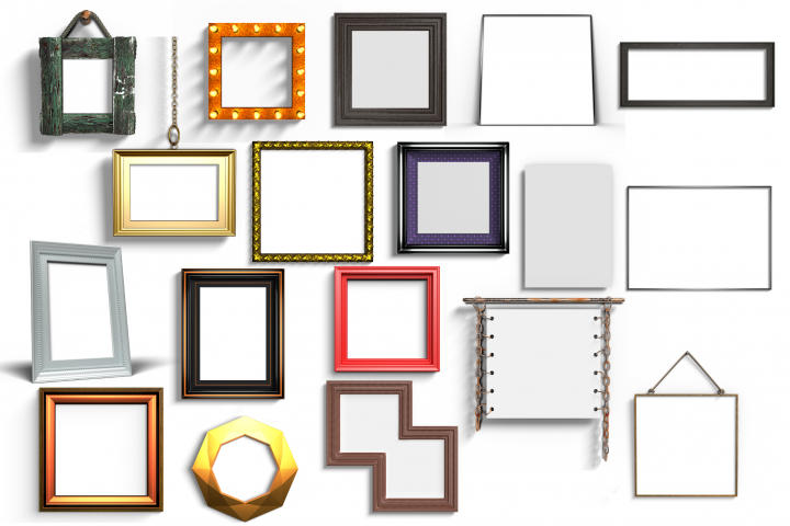 18 digital mock up frames bundle with transparent backdrop
