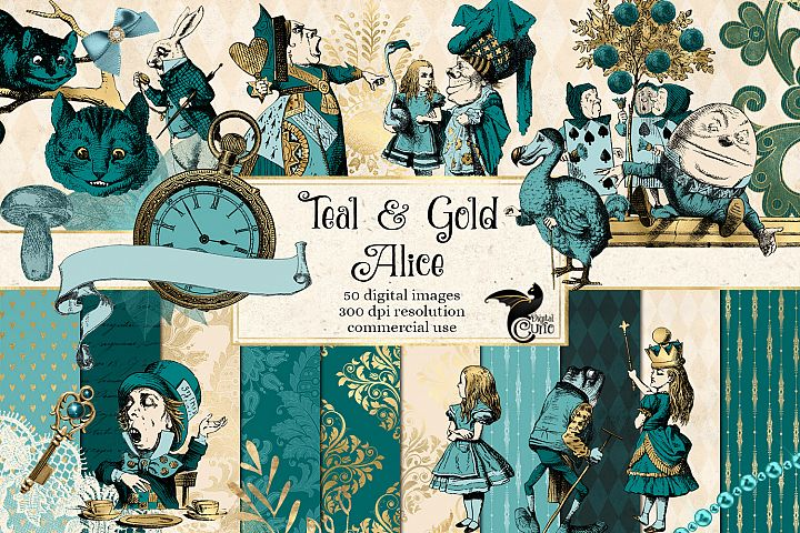 Teal and Gold Alice in Wonderland Graphics