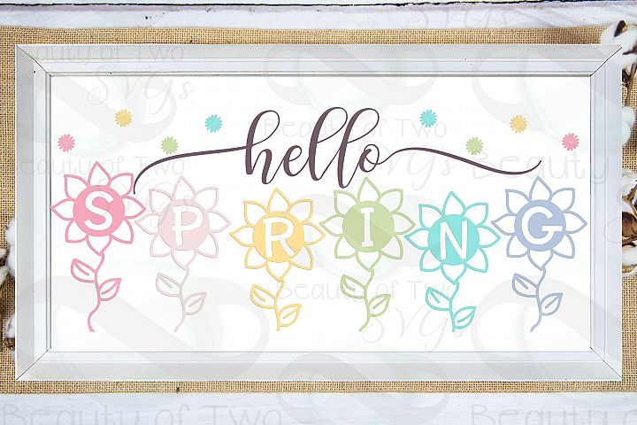 Hello Spring Flowers Farmhouse svg, Spring sign svg, flowers