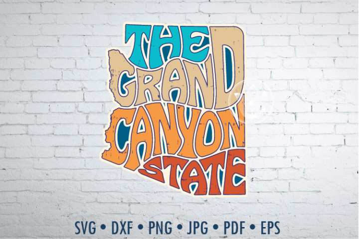 The Grand Canyon State sticker looking word Art, svg, png