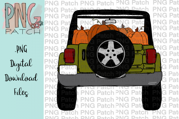 Green Topless SUV with Pumpkins, Fall PNG File