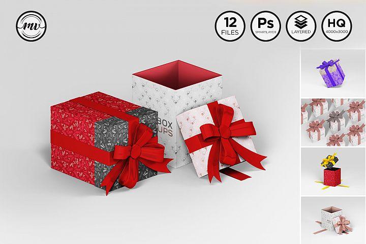 Gift Box Rectangle Mockups V2