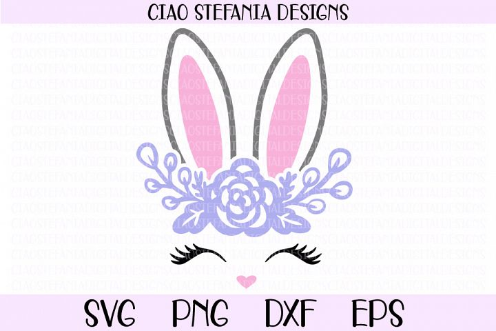 Bunny Face And Ears With Flowers SVG Cut File