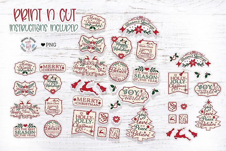 Vintage Type Christmas Stickers Print n Cut