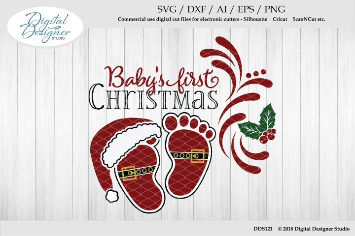 Babys First Christmas Baby Feet SVG AI EPS DXF PNG Cut File