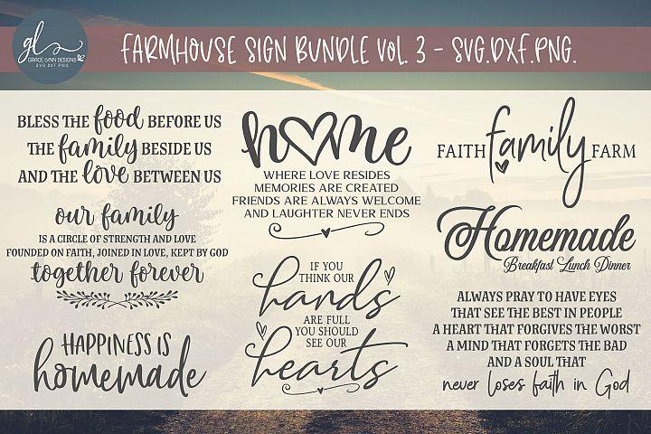 Farmhouse Sign Bundle Vol. 3 - SVG, DXF & PNG - 8 Designs