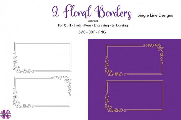 2 Floral Borders for Foil Quill|Sketch Pen|Engraving
