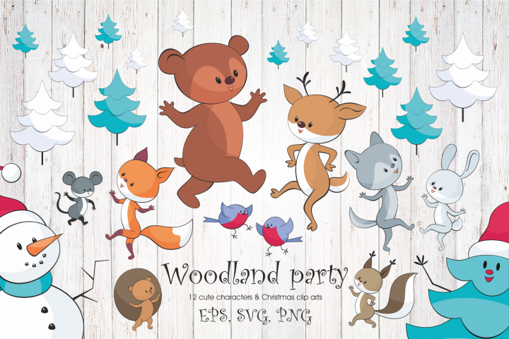 Woodland party. Cheerful animals and Christmas tree