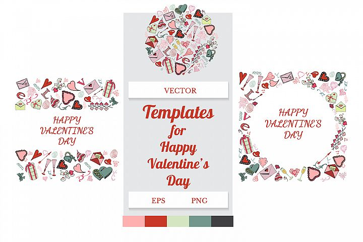Templates with hand drawn color elements of symbols of love.