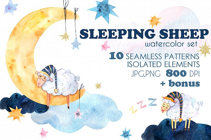 Sleeping Sheep watercolor set