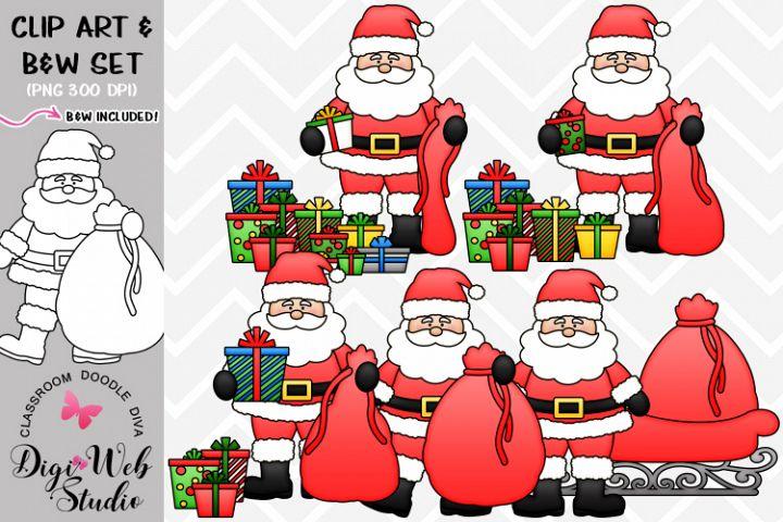 Clip Art / Illustrations - Santa Packs Christmas Presents