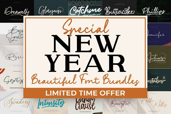 MEGA SALES! - NEW YEAR FONT BUNDLE COLLECTIONS