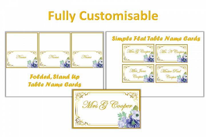 Wedding Table Settings Cards Fully Customisable. 2inch x 3.5