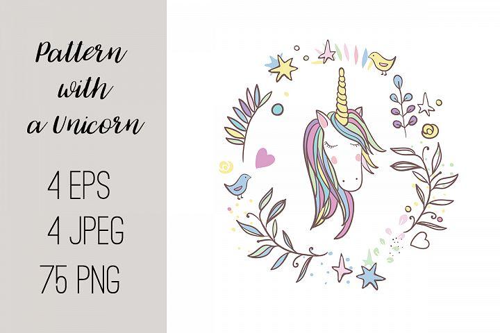 Pattern with a Unicorn