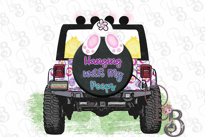 Easter Jeep Hanging with my Peeps Png, Unique Design