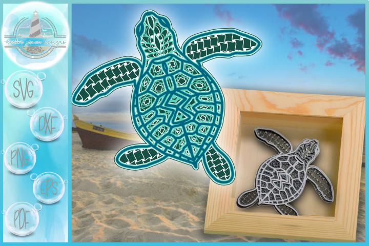 3D Sea Turtle Mandala Multi Layered Mandala SVG