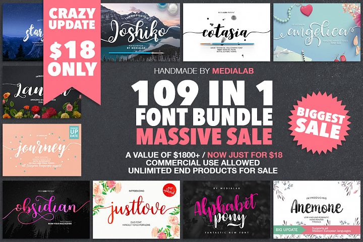 109 in 1 BEST FONT BUNDLE
