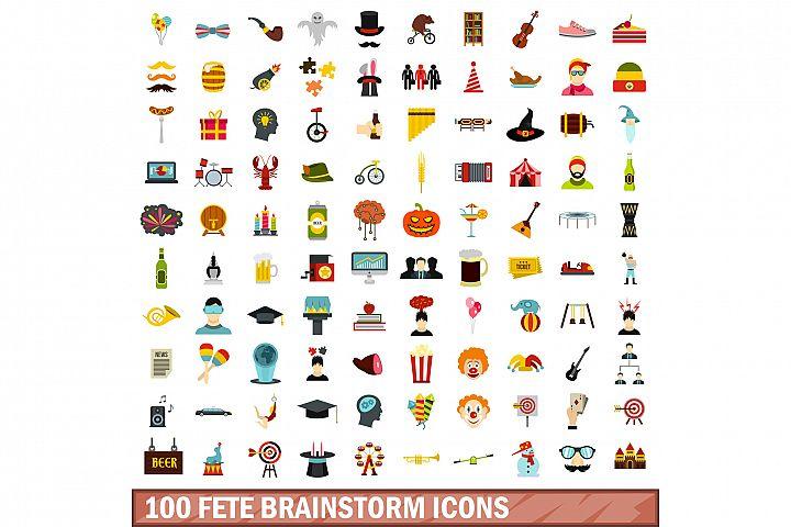 100 fete brainstorm icons set, flat style