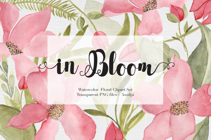 Watercolor Flowers Clipart Set