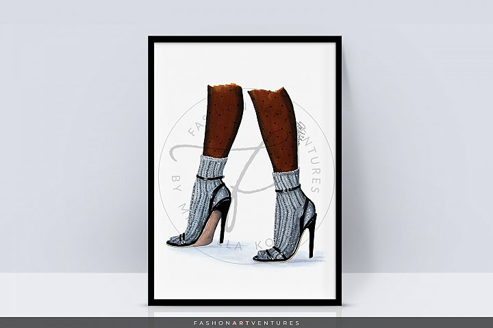 Shoe selfie- Fashion Illustration Print, Wall Decor