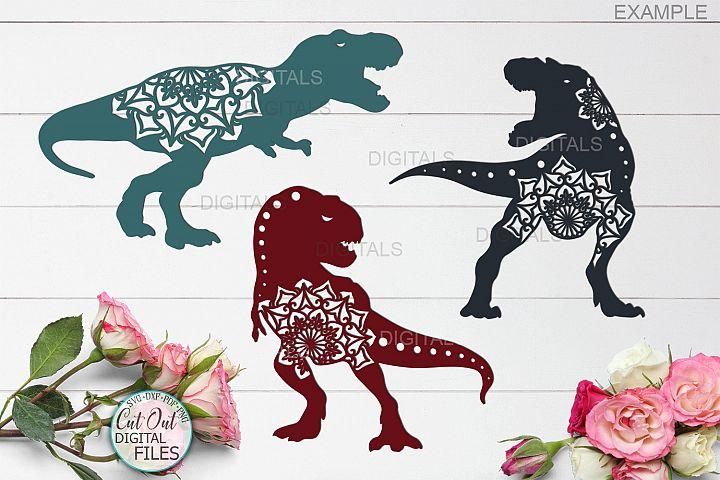 Mandala T rex dinosaurs bundle cut out svg paper laser cut