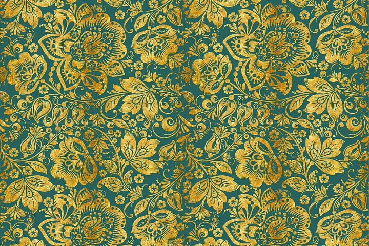 Floral gold seamless pattern. Hohloma. example image 6
