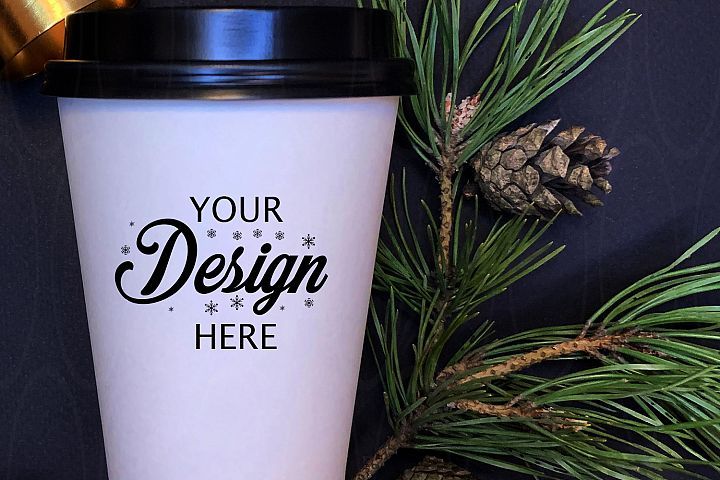 Winter Styled Photography White coffee glass mock up