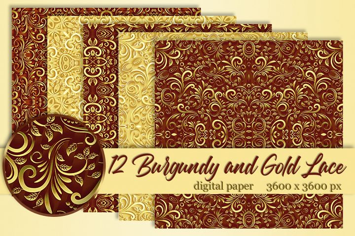 12 Gold and Burgundy wedding lace digital paper Background