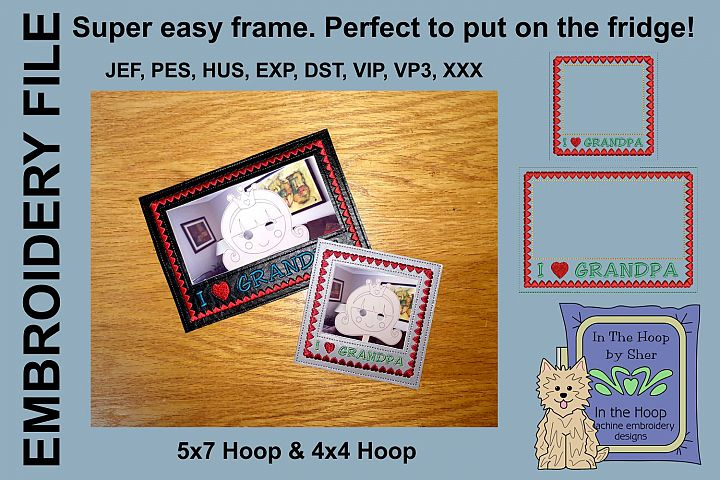 I Love Grandpa Picture Frames - 4 x 4 and 5 x 7 Hoops