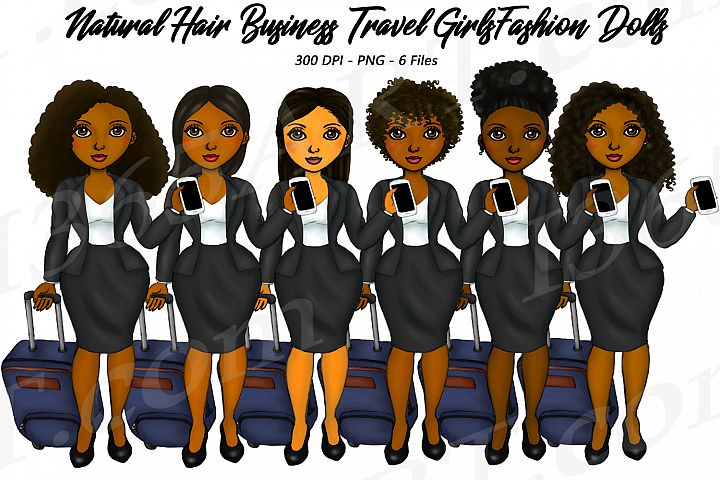 Business Travel Clipart Girls, Natural Hair Fashion Dolls