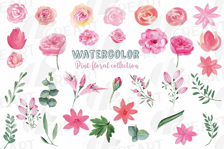 Watercolor Pink floral elements and green leaves clip art