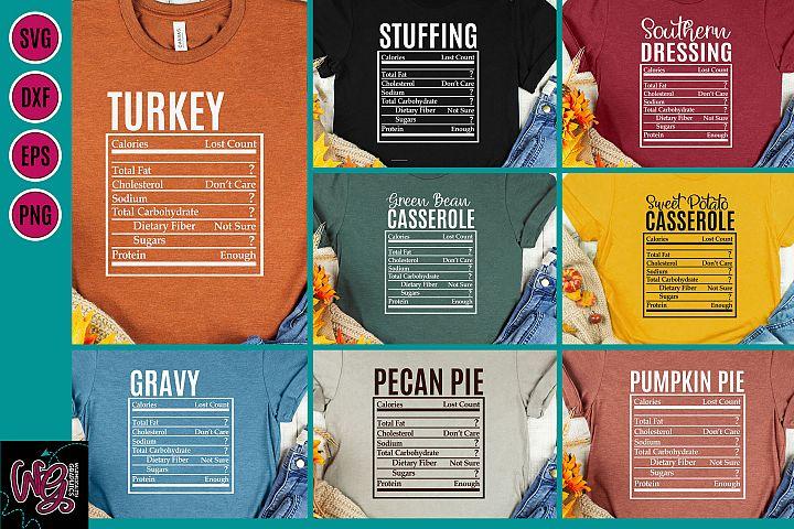 Holiday Food Funny Nutrition Bundle SVG, DXF, PNG, EPS