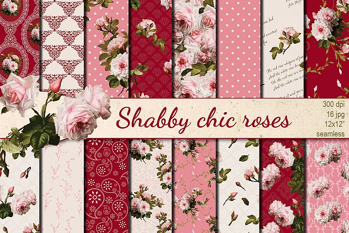 Shabby chic pink roses seamless patterns