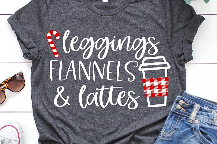 Leggings Flannels & Lattes Christmas SVG, DXF, PNG, EPS
