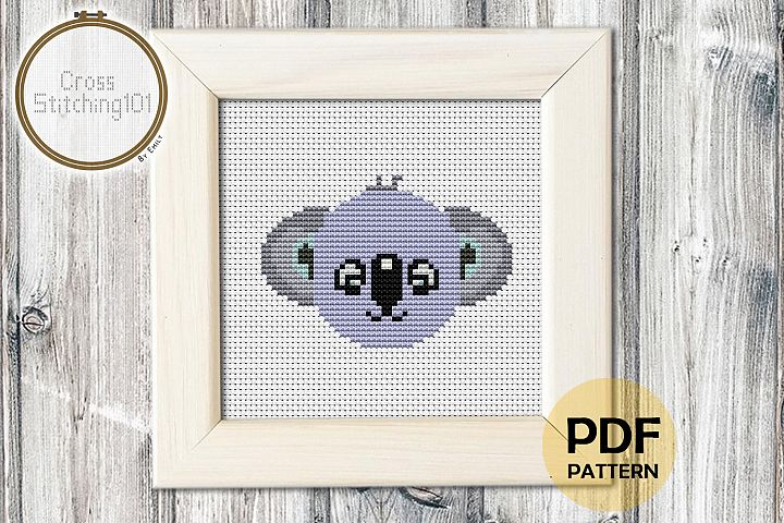 Cartoon Koala Face Cross Stitch Pattern - Instant Download