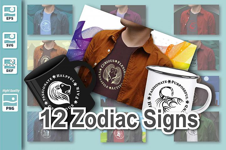 All Zodiac signs - with nice Characteristic - Cut File