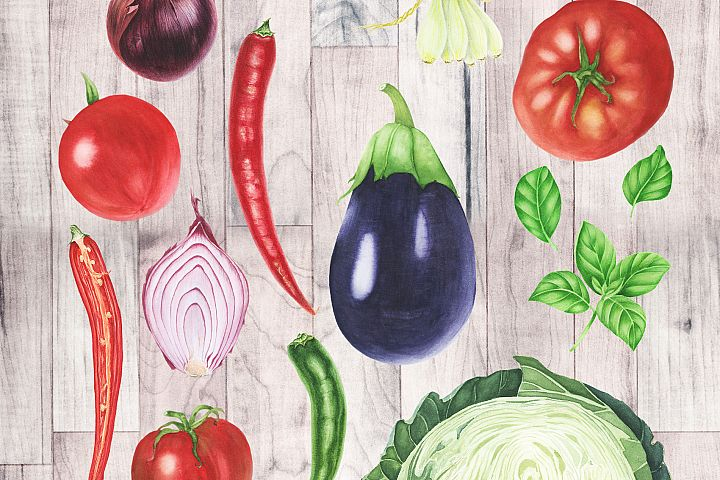 Watercolor Vegetables Clipart example 1