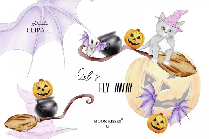 Halloween clip art with cute animals