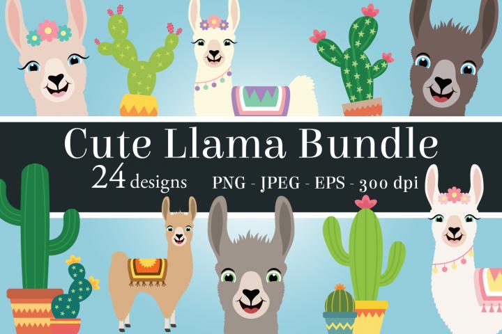 Cute Llama Clipart Bundle, Fun Cacti, PNG, JPEG, EPS